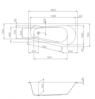 badshop veith badewanne acryl derby petite 160x75cm rechts weiss vigour vigour sanibel. Black Bedroom Furniture Sets. Home Design Ideas
