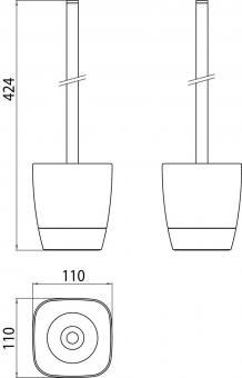 Bürstengarnitur white Standmod.verchromt Behälter aus weisser Keramik VIGOUR