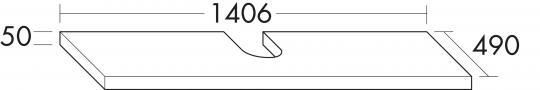Konsolenpl. derby 1xAusschn HxTxB50x410- 490x1207-1406mm PG1 Eiche Dk Flanelle VI