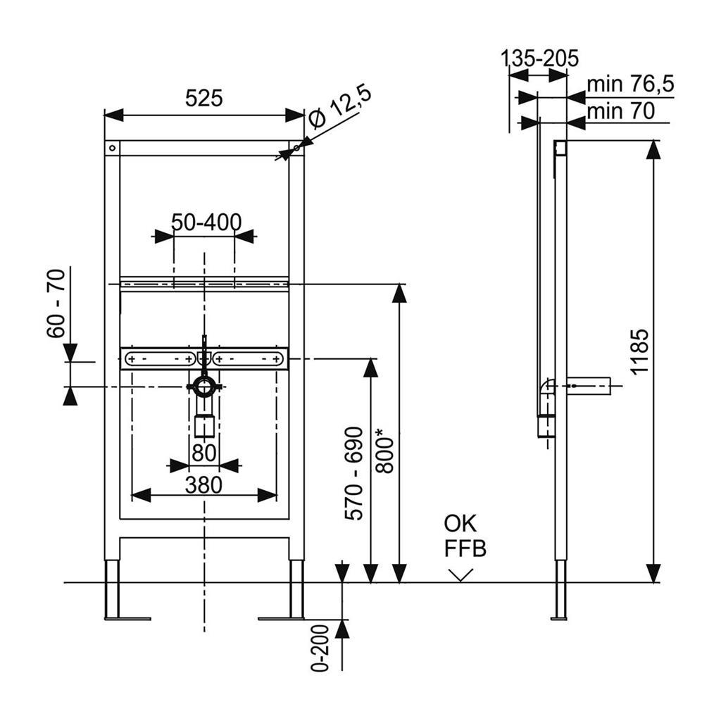 Waschtisch trockenbau  Badshop Veith | WT-Element VIS f.Trockenbau f.Einlochbatterie BH ...