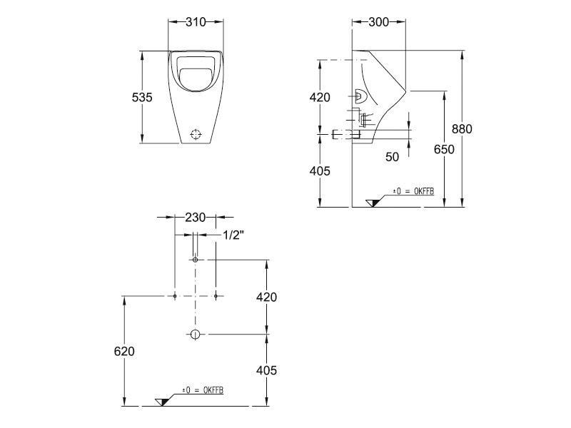 badshop veith urinal derby zulauf verdeckt weiss. Black Bedroom Furniture Sets. Home Design Ideas