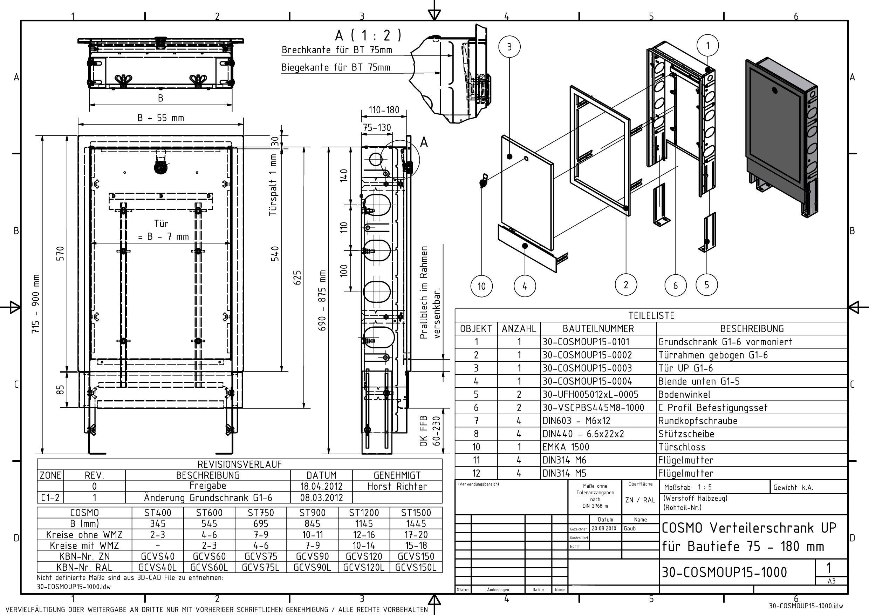 Badshop Veith Cosmo Verteilerschrank St 750 Lackiert F