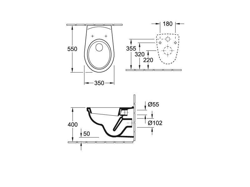 Badshop Veith   Wand-Tiefspül-WC clivia weiss VIGOUR   Vigour Sanibel   {Wc maße din 63}