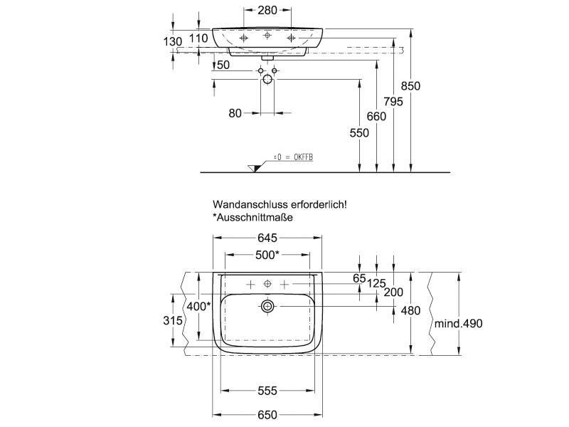 Badshop Veith | Aufsatz-Waschtisch derby style 65x48cm weiss VIGOUR ...